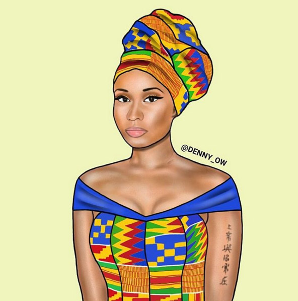Nicki Minaj get suited up in her Kente Dress